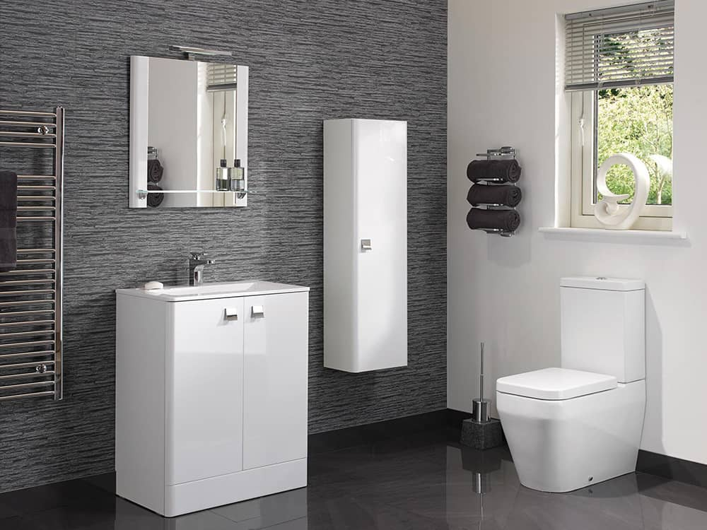 Modular - Trevi Gloss White with Floor Mounted Basin Cabinet