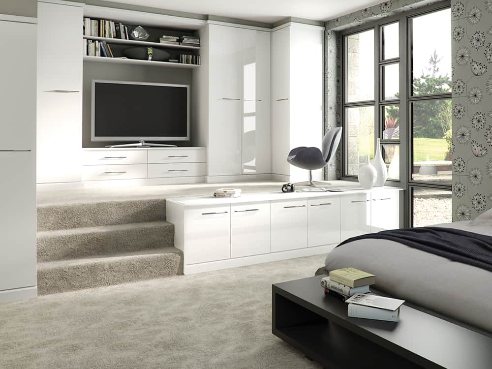 Image Gloss White Fitted Bedroom Kirkintilloch - Bedrooms