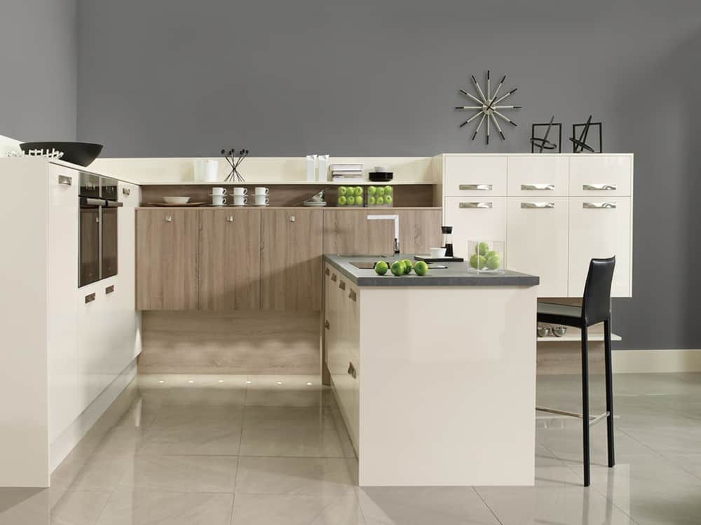 gloss oyster grey bordolino oak - Modern Kitchens
