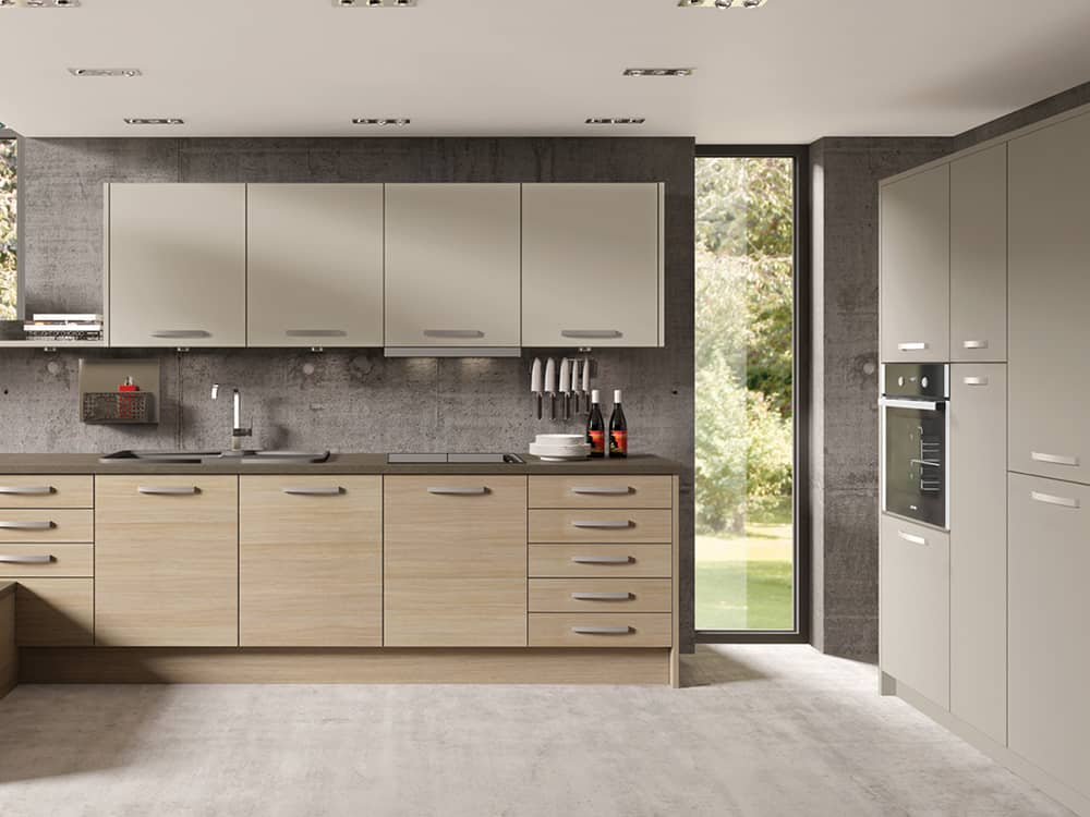 tempo aaragon oak stone grey - Modern Kitchens