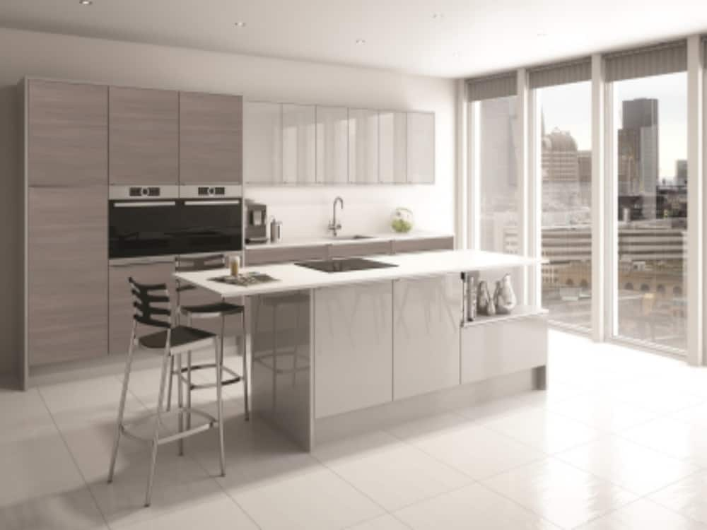 Avola Linea Grey with Image Linea Grey  Mist Gloss 1 - Modern Kitchens