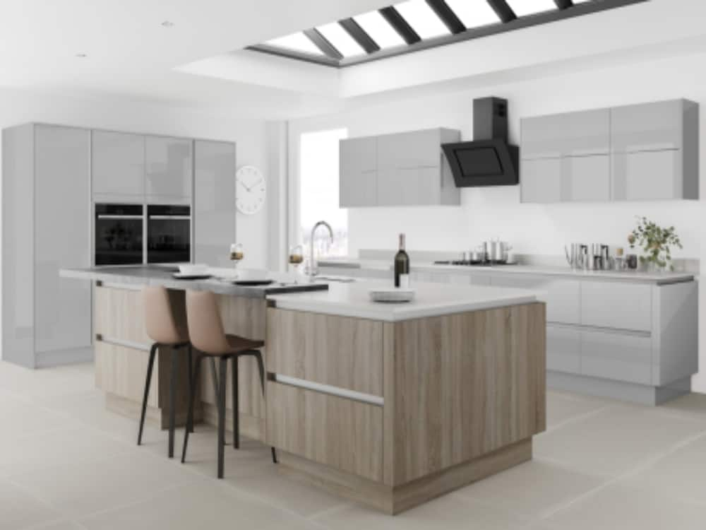 Moderna Image Gloss Grey Mist with Tempo Bardolino - Modern Kitchens