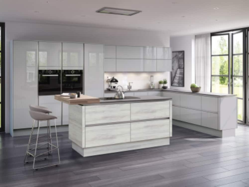 Moderna Image Gloss Grey Mist with Tempo Cascina Pine - Modern Kitchens