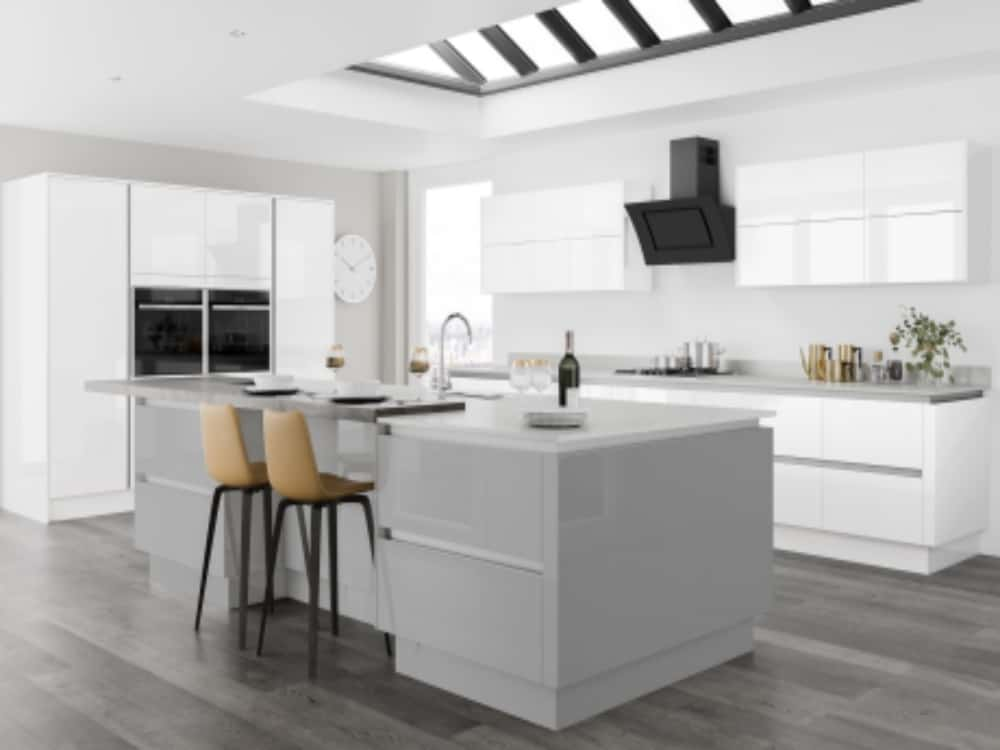 Moderna Image Gloss White with Image Gloss Grey Mist - Modern Kitchens