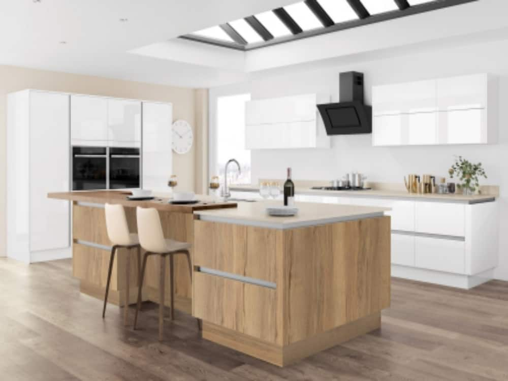 Moderna Image Gloss White with Tempo Halifax Oak - Modern Kitchens